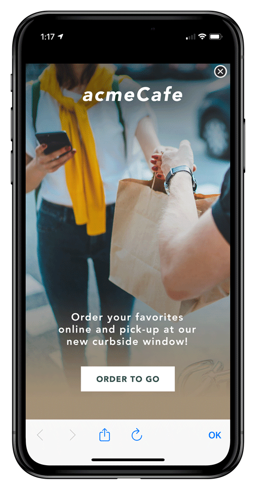 Mock mobile advertisement with a woman in a yellow sweater accepting a delivery order in a brown paper bag.