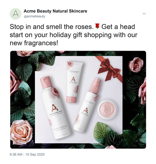 Mock social media advertisement for a beauty company displaying four skincare products.
