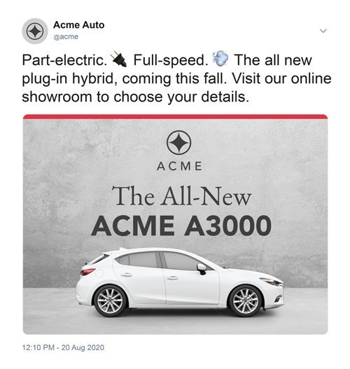 Mock social media advertisement for an auto dealership with a white car and grey background.
