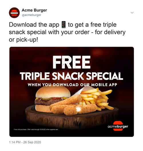 Mock social media advertisement for a burger company with a mini burger, fries, and mozzarella sticks.