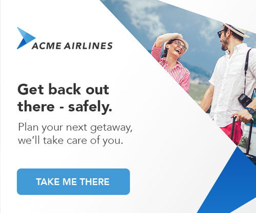 Mock banner advertisement promoting safe travel with two travelers with hats, bags, and a camera.