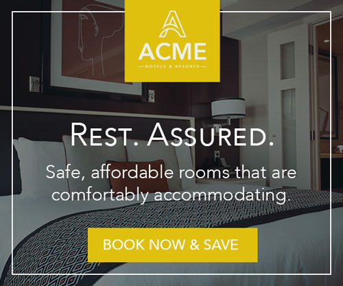 Mock banner advertisement with a hotel room promoting affordable booking.