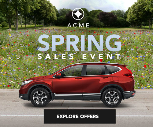 Mock banner advertisement with a field of flowers and trees and a red SUV promoting Spring sales.