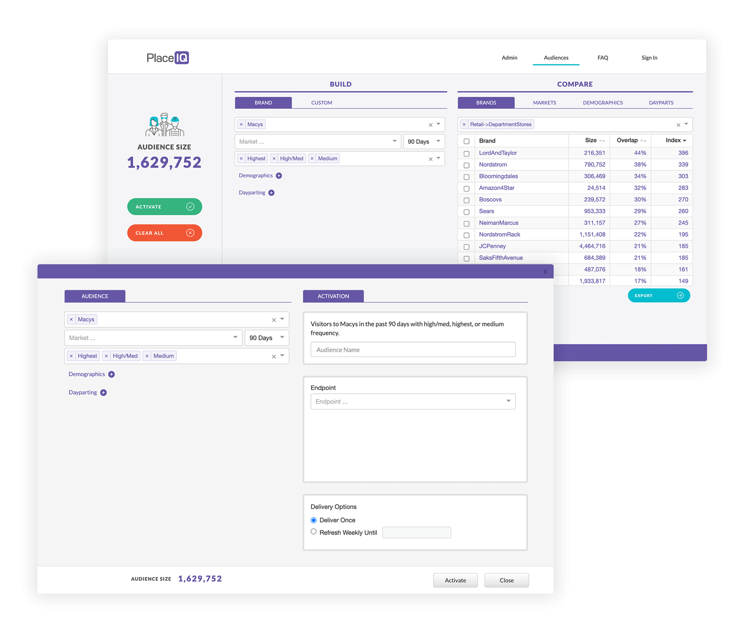 Audience Discover Dashboard Interface Example